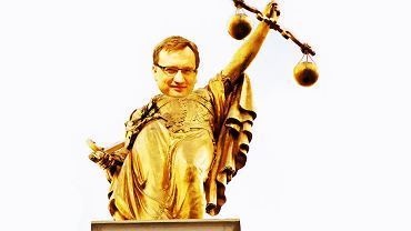 Pomnik 'Lady Justice' z Brukseli z głową Zbigniewa Ziobry