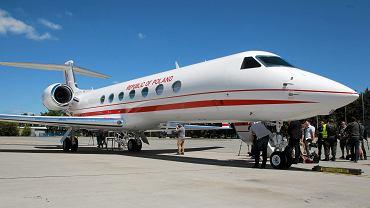Pierwszy Gulfstream G550 'Książę Józef Poniatowski ' - nowy rządowy samolot do przewozu VIP-ów prezentowany na Okęciu