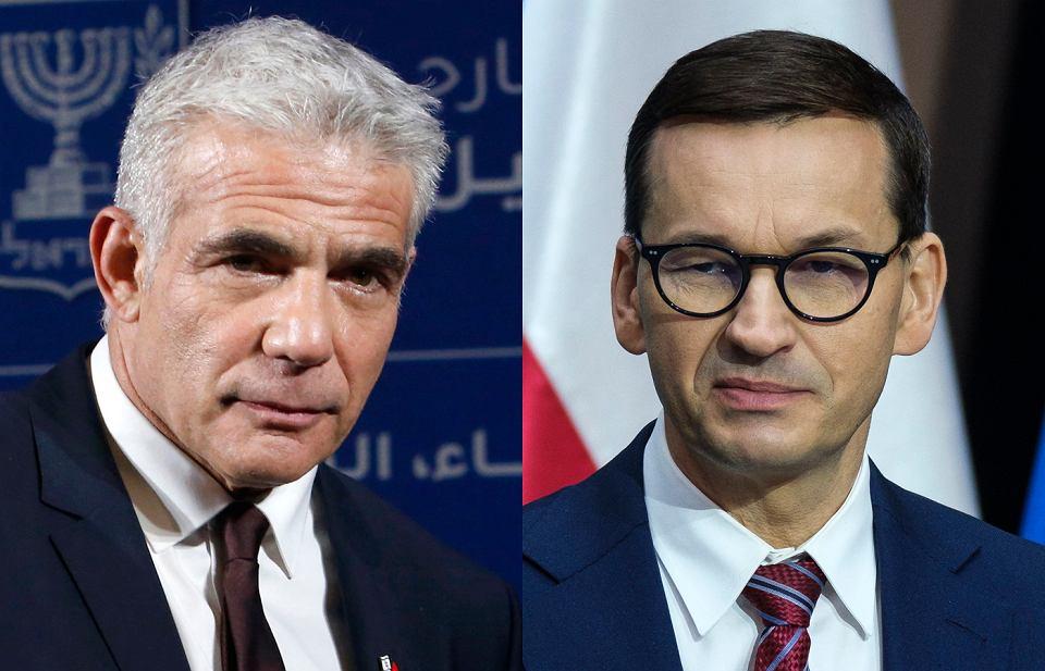 Minister spraw zagranicznych Izraela Jair Lapid i premier Mateusz Morawiecki.