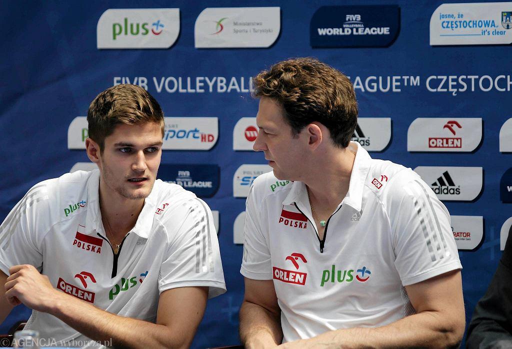 Częstochowa, konferencja prasowa przed meczami Polska - Iran. Karol Kłos i Stephan Antiga
