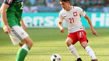 Bartosz Kapustka podczas meczu Polska - Irlandia Płn.
