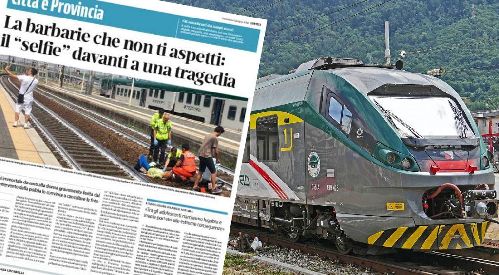 Mężczyzna, który robił sobie selfie na tle ofiary wypadku, trafił do włoskich gazet