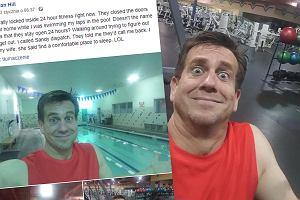 Poszedł na wieczorny trening, został zamknięty na siłowni. Relację z tej wyjątkowej nocy zdał na Facebooku