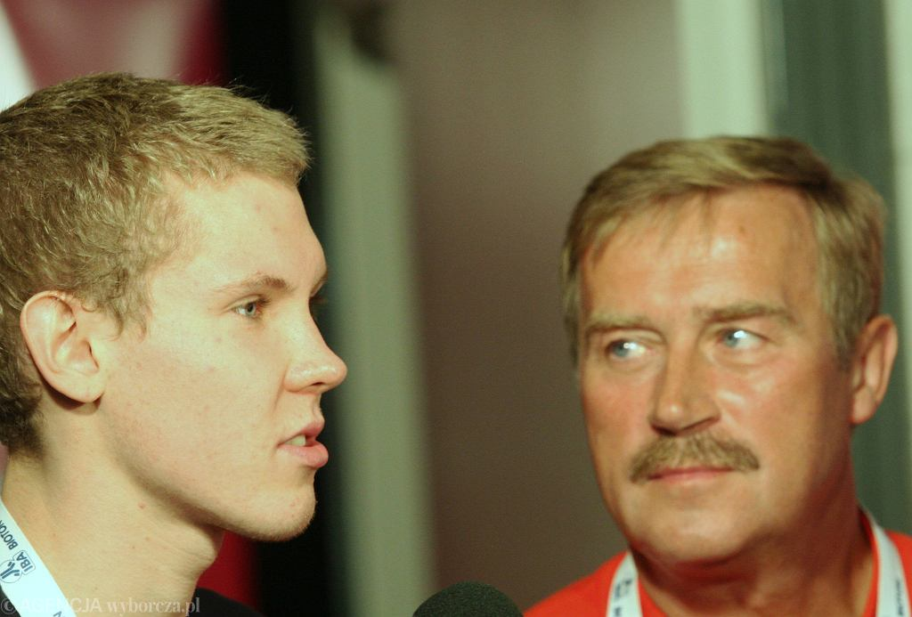 Mateusz Sawrymowicz i trener Mirosław Drozd