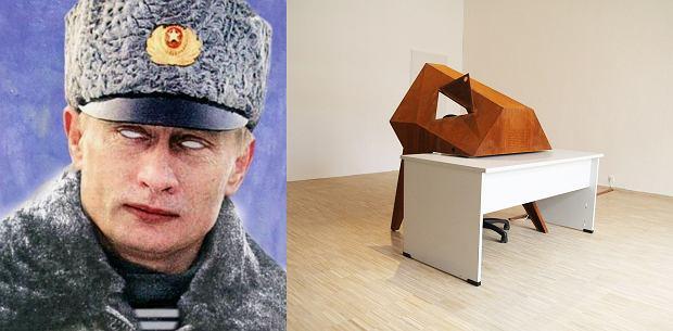 Po lewej: Paweł Kowalewski, 'Mon Chéri Bolscheviq 2005', sitodruk Po prawej: Jakub Szczęsny, 'Iron Maiden', 2014, instalacja na wystawę w Galerii Miejskiej Arsenał w Poznaniu