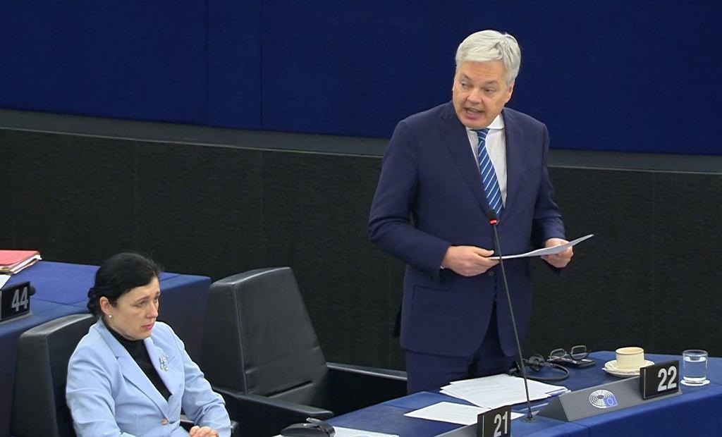 Didier Reynders, komisarz UE ds. sprawiedliwości podczas debaty w praworządności w Polsce/ Fot. Parlament Europejski