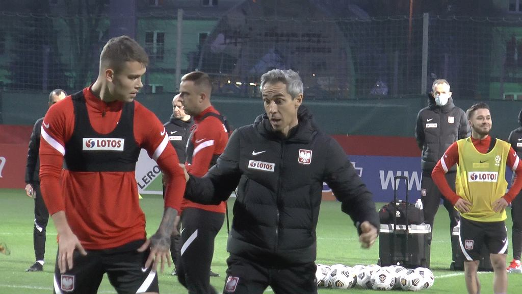 Paulo Sousa i Kamil Piątkowski na treningu