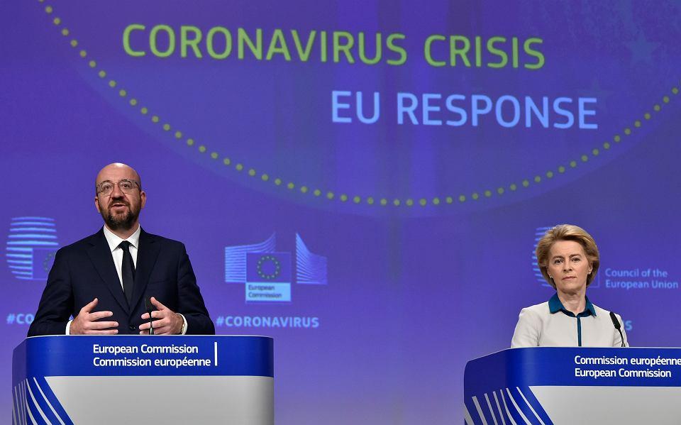 Ursula von der Leyen i Charles Michel podczas konferencji prasowej dotyczącej koronawirusa