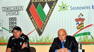 Janusz Kubot (trener KS-u Polkowice, z lewej) i Mirosław Kmieć (trener Zagłębia Sosnowiec, z prawej) pożegnali się dziś ze swoimi stanowiskami
