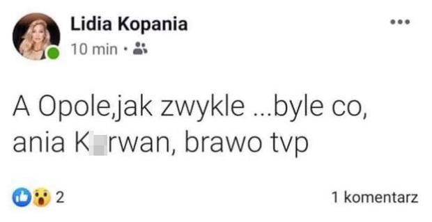 Wulgarny wpis Lidii Kopanii