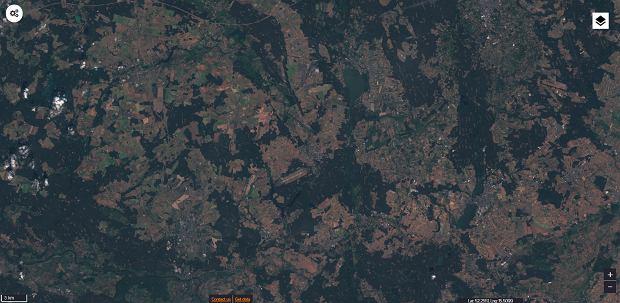 Zdjęcie satelitarne okolic Babiegomostu w woj. lubuskim, 25/06/2019
