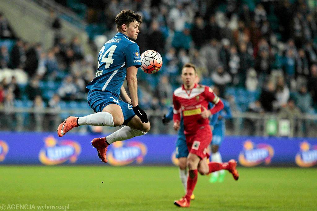 Lech Poznań - Zagłębie Sosnowiec 1:0 w półfinale Pucharu Polski. Z lewej Dawid Kownacki