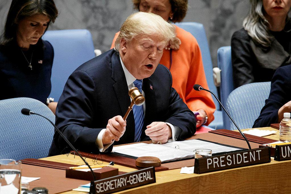 26.09.2018 r., Nowy Jork: Donald Trump przewodniczy posiedzeniu Rady Bezpieczeństwa ONZ.