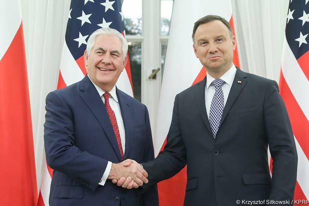 Andrzej Duda i Rex Tillerson