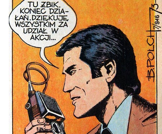 Kadr z PRL-owskiego komiksu o kapitanie Żbiku. Twórca tej postaci, Władysław Krupka, zmarł we wrześniu 2019 r. w wieku 92 lat.