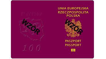 Wzór nowego paszportu z dewizą 'Bóg, Honor, Ojczyzna' na pierwszej stronie
