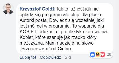 Screen z FB Manueli Gretkowskiej