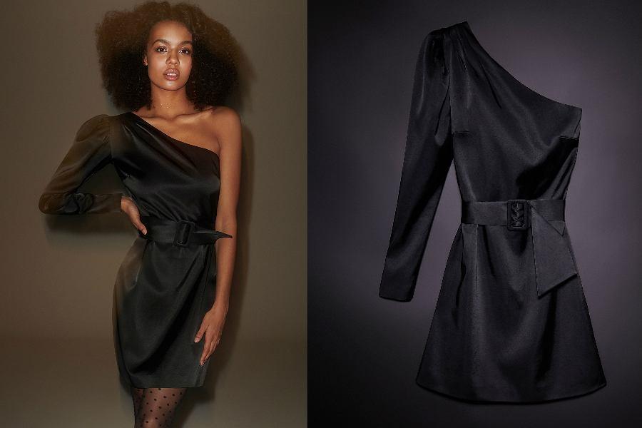 Satynowa sukienka na jedno ramię z bufiastym rękawem to ciekawa propozycja na sylwestra!