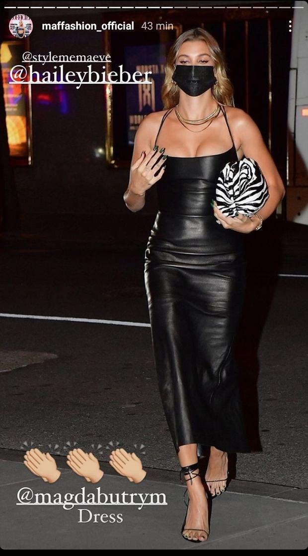 Hailey Bieber w sukience Magdy Butrym