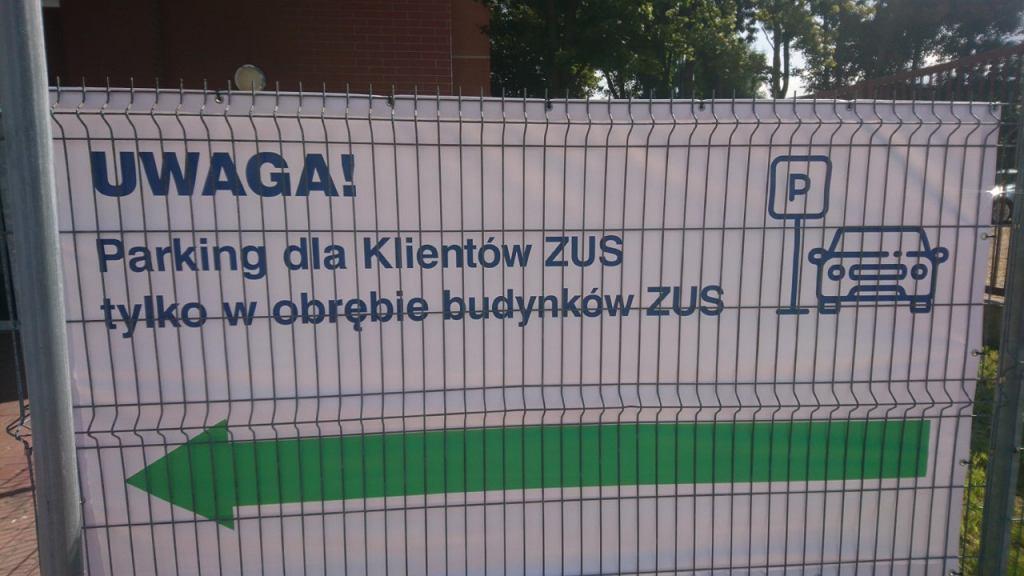 Baner, który przygotował ZUS w Sosnowcu