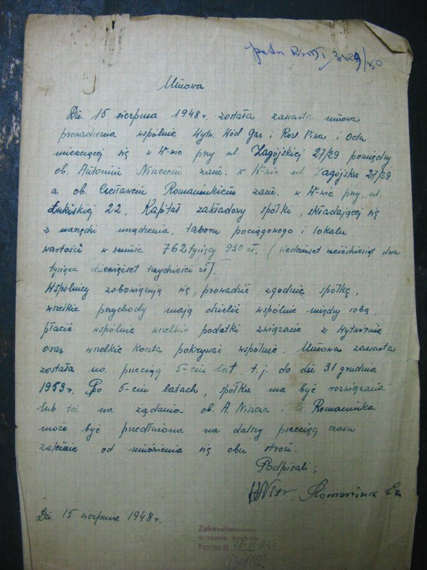 umowa spisana ręcznie w 1948 roku