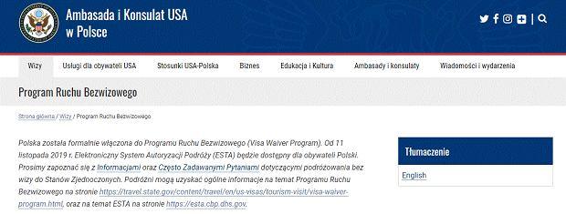 Strona Ambasady i Konsulatu USA w Polsce informuje o przystąpieniu do VWP