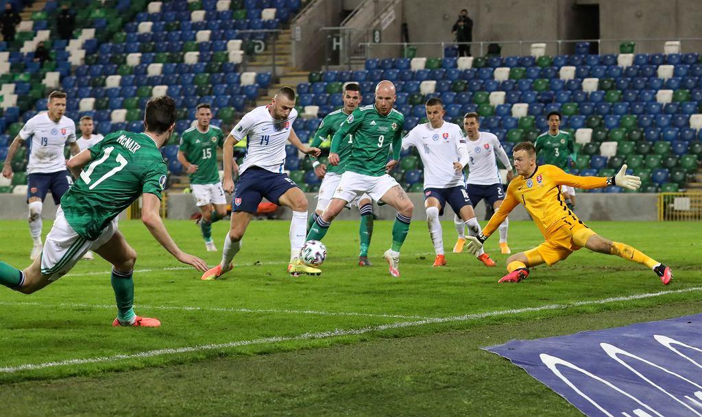 Irlandia Północna - Słowacja 1:2 - na zdjęciu moment przed golem dla Irlandii Północnej, z numerem 16 Lubomir Satka z Lecha Poznań