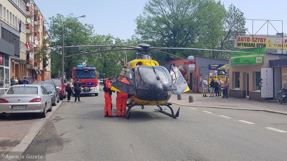 Lądowanie śmigłowca LPR na ul. Oleskiej W Opolu