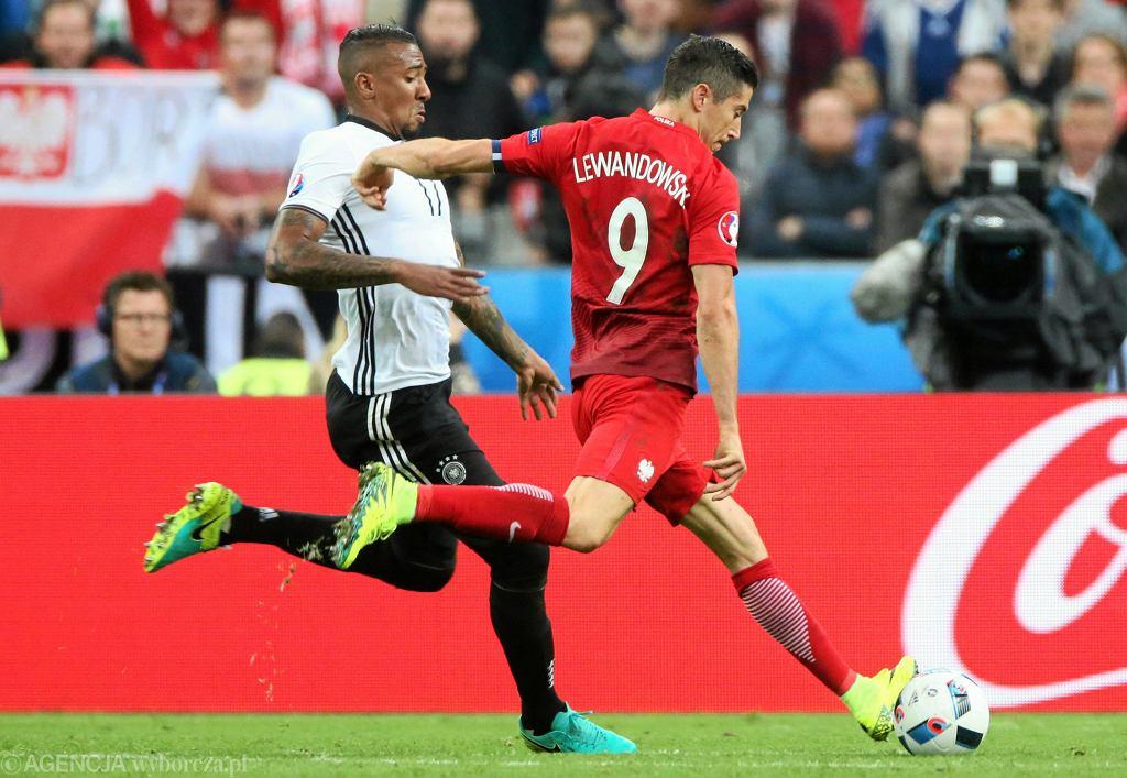Robert Lewandowski podczas meczu Polska-Niemcy
