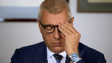 Mecenas Roman Giertych podczas konferencji prasowej. Warszawa, 29 sierpnia 2019