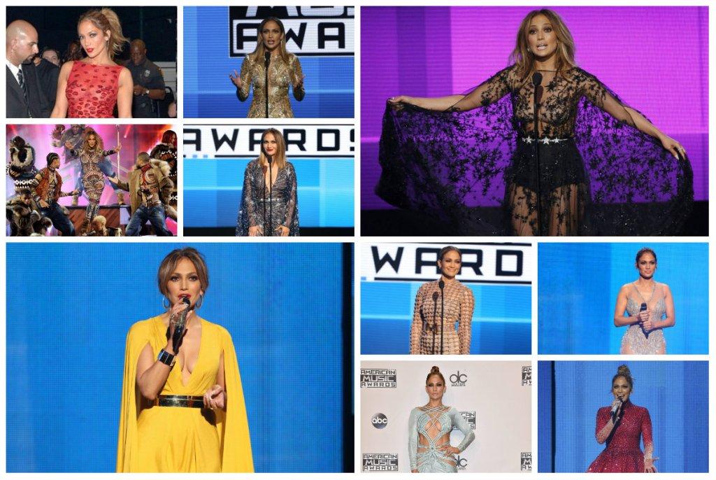Jennifer Lopez na American Music Awards - wszystkie stylizacje