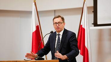 Prezes IPN Jarosław Szarek podczas uroczystości wręczenia tytułów Świadek Historii. Krakó, 29 listopada 2018