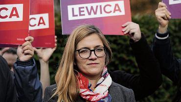 Magdalena Biejat podczas konferencji prasowej Lewicy, Warszawa, 25.09.2019