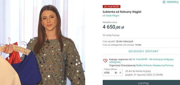 sukienka przeznaczona na aukcję