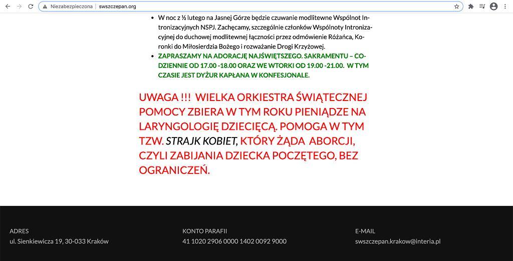 Kraków. 'Won stąd, wara stąd'. Tak ksiądz przepędzał wolontariuszkę WOŚP przed kościoła