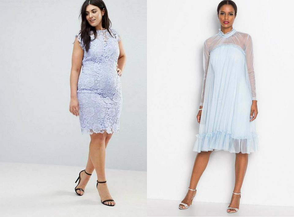 Błękitna koronkowa sukienka w wersji eleganckiej