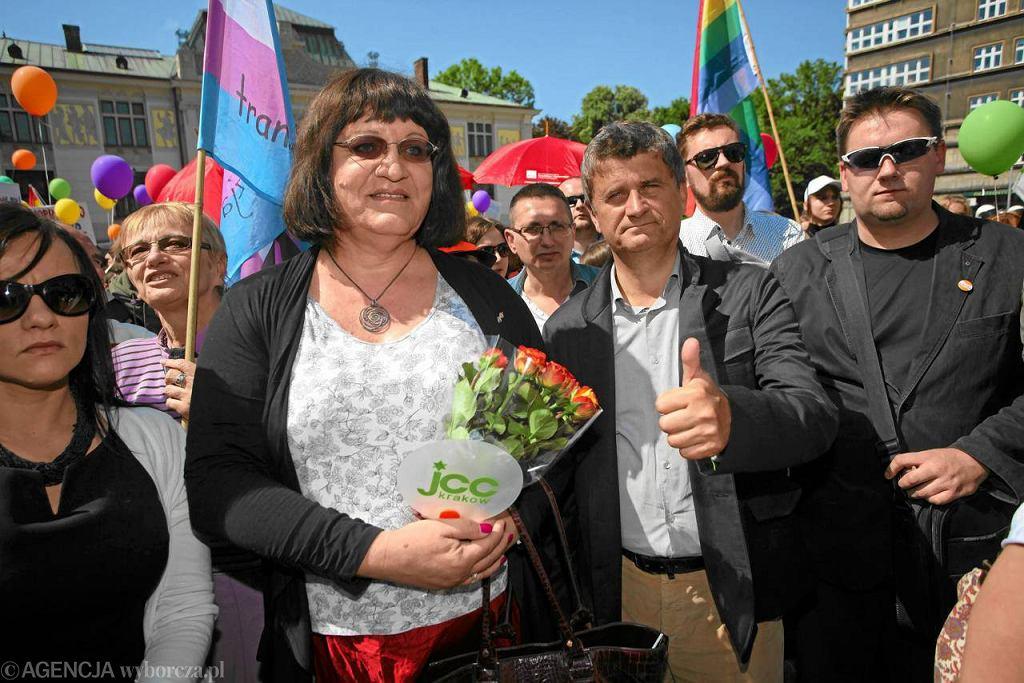Anna Grodzka i Janusz Palikot na Paradzie Równości w 2012 r.