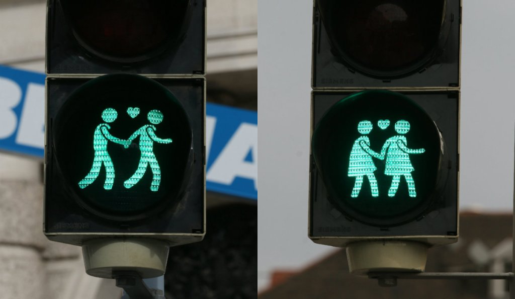 Światła uliczne przedstawiające pary tej samej płci. Wiedeń.