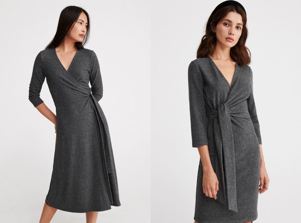 szare sukienki z wiązaniem