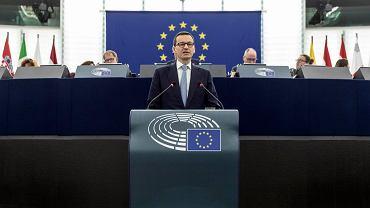 Premier Mateusz Morawiecki podczas wystąpienia w Parlamencie Europejskim, 4 lipca 2018.