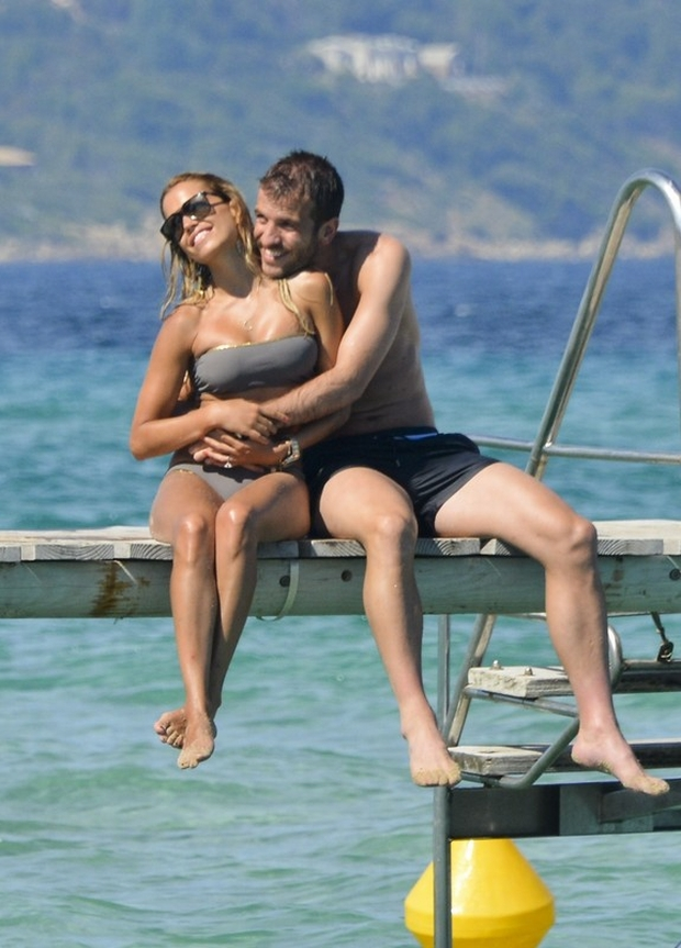 Netherlands soccer player Raphael Van Der Vaart and his wife Sylvie on vacation in Saint-Tropez, France on June 23, 2012. Photo by ABACAPRESS.COM