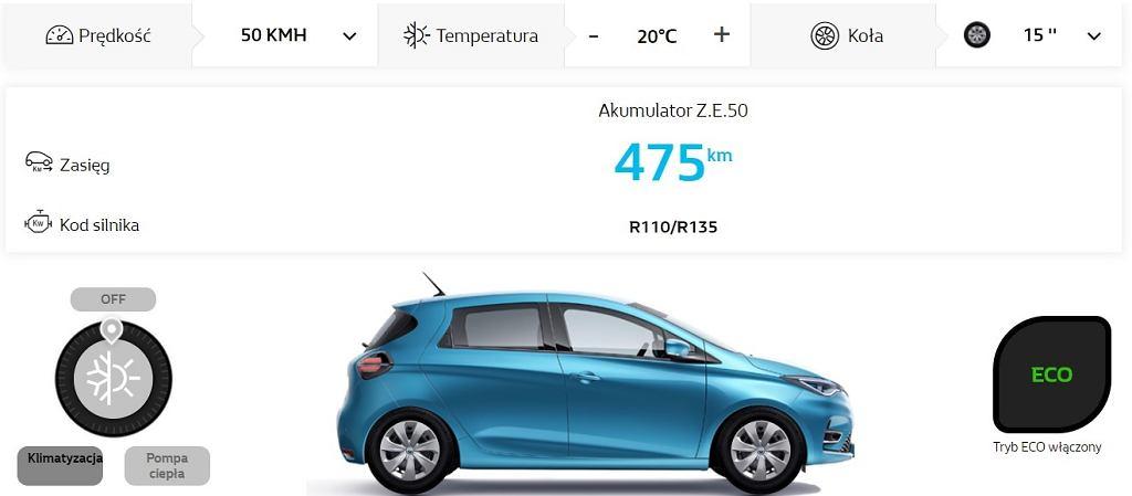 Kalkulator zasięgu dla Renault ZOE