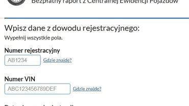 Zrzut strony internetowej Historiapojazdu.gov.pl