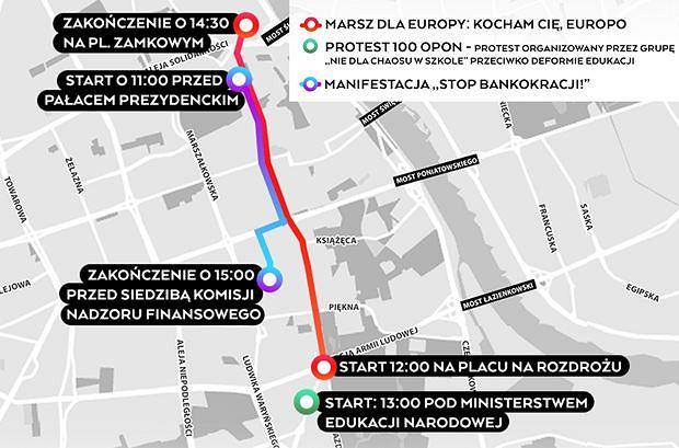 Mapa największych manifestacji w Warszawie, które odbędą się 25 marca 2017.