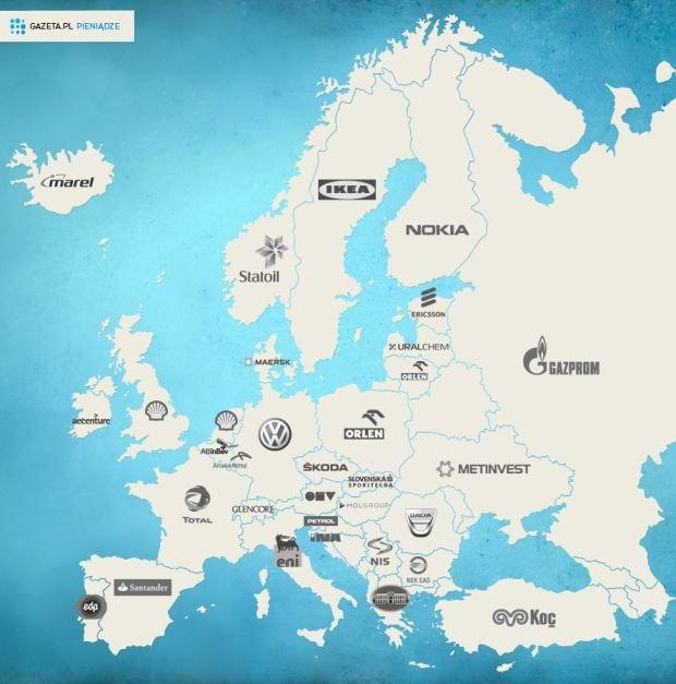 Mapa największych firm Europy