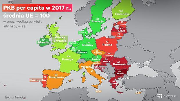 PKB na głowę mieszkańca w relacji do średniej UE, z uwzględnieniem różnicy w cenach