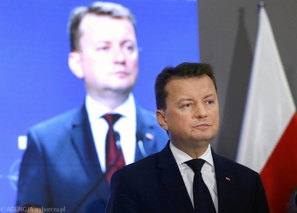 Minister Mariusz Błaszczak podczas konferencji podsumowującej dwa lata pracy MSWiA . Warszawa, 15 listopada 2017