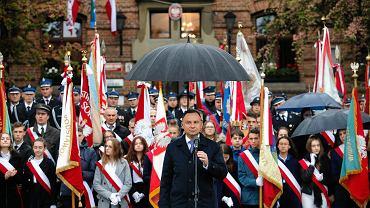 Myślenice. Spotkanie Prezydenta Andrzeja Dudy oraz wicepremier Beaty Szydło z mieszkańcami