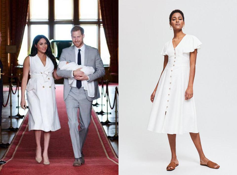Biała sukienka w stylu księżnej Megan Markle