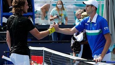 1.04.2021, Hubert Hurkacz po zwycięskim ćwierćfinale ze Stefanosem Tsitsipasem w turnieju ATP Miami Open